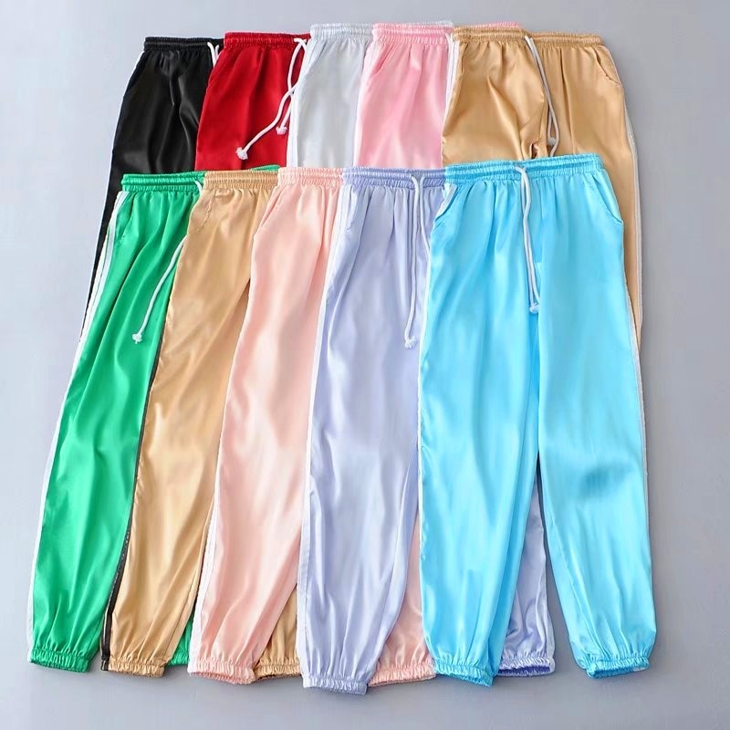 Summer Satin Cargo Pants Women Europe Loose Casual Sport Women Joggers Streetwear Cargo Pants Women