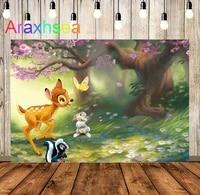 airy forest cartoon deer family cherry flowers rabbit princess children photography background birthday studio photo backdrop
