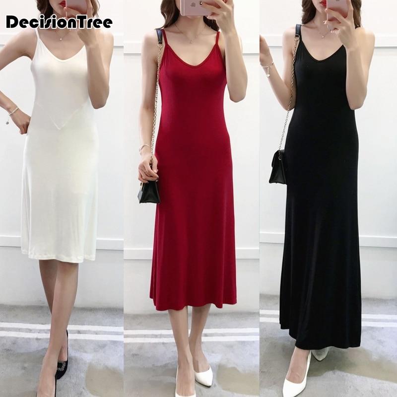 2020 women modal cotton spaghetti strap tank basic full slip medium long plus tank underdress petticoat underskirt