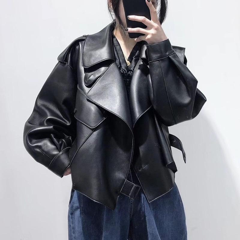 Black Short Loose PU Leather Jacket 2021 Autumn Winter Korean Soft Faux Leather Jacket Street Casual Outwear Ladies Biker Jacket enlarge