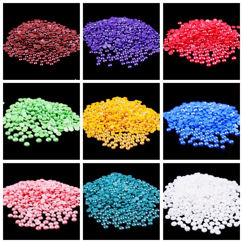 4mm diamantes de imitación de espalda plana medio redondo blanco perlas Diamante de imitación para joyería ABS resina Hotfix diamantes de imitación apliques F