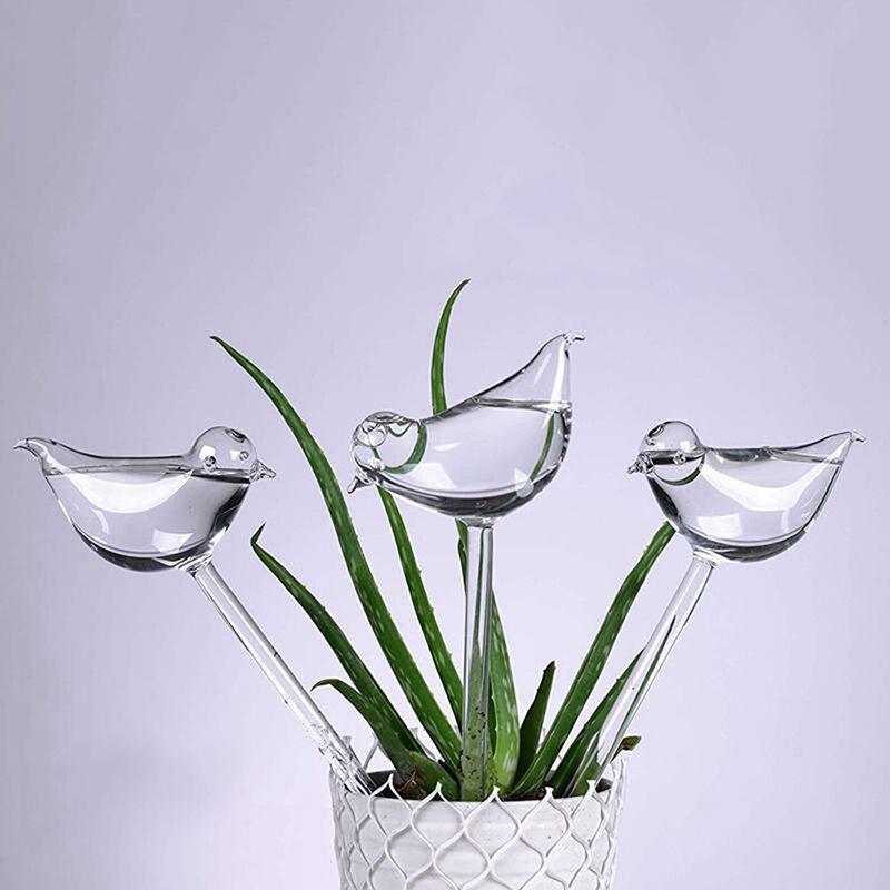 Автоматическое устройство для полива цветов 1 шт., глобусы для самополива растений, в форме птицы, ручная выдувка, прозрачные лампочки