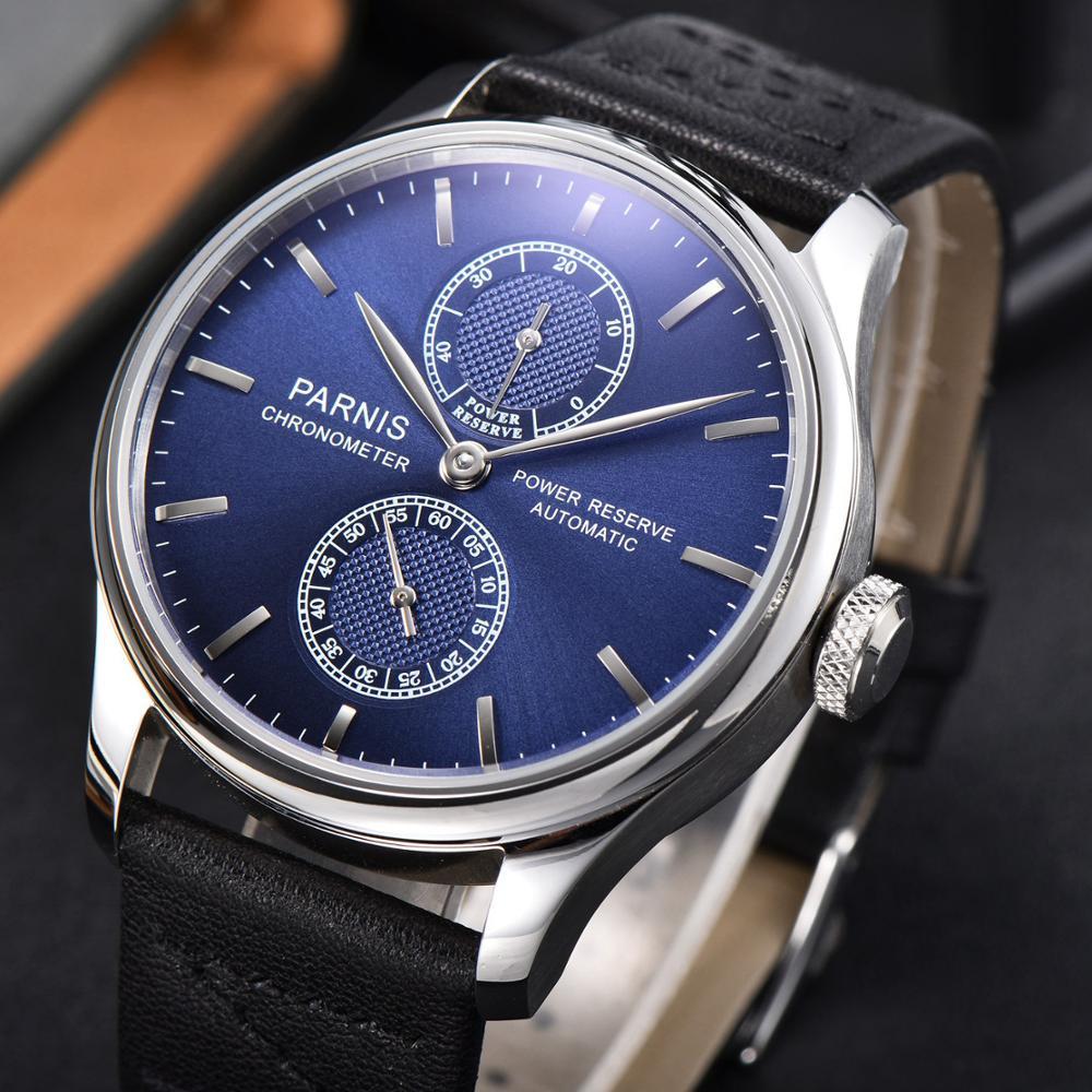 Parnis 43mm caixa de aço inoxidável azul dial automático mecânico relógio masculino marca luxo moda reserva energia à prova dwristwatch água relógio pulso