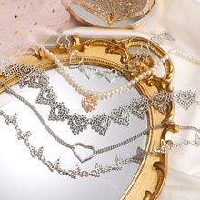 Vintage Heart Chain Choker Necklace for Women Gril Collar Goth Necklaces Aesthetic Jewellery Christm
