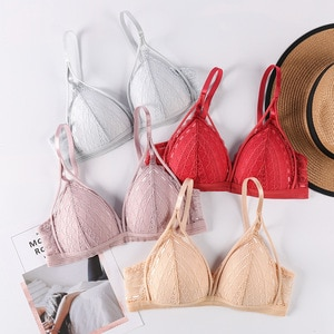 Sexy Deep V Bralette French Style Lace Push Up Bras For Women Thin Wireless Lingerie Female Underwear Solid Color Bra Wholesale
