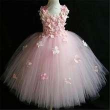 Quality Pink Princess Flowers Petal girl wedding dress girls Tulle Fuffy party Formal dress Princess Tutu Dress vestidos