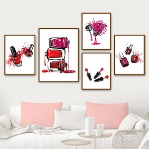 Fashion Salon Nail Polish Bottle Vogue Wall Art Canvas Painting Nordic Posters And Prints Wall Pictures For Living Room Decor