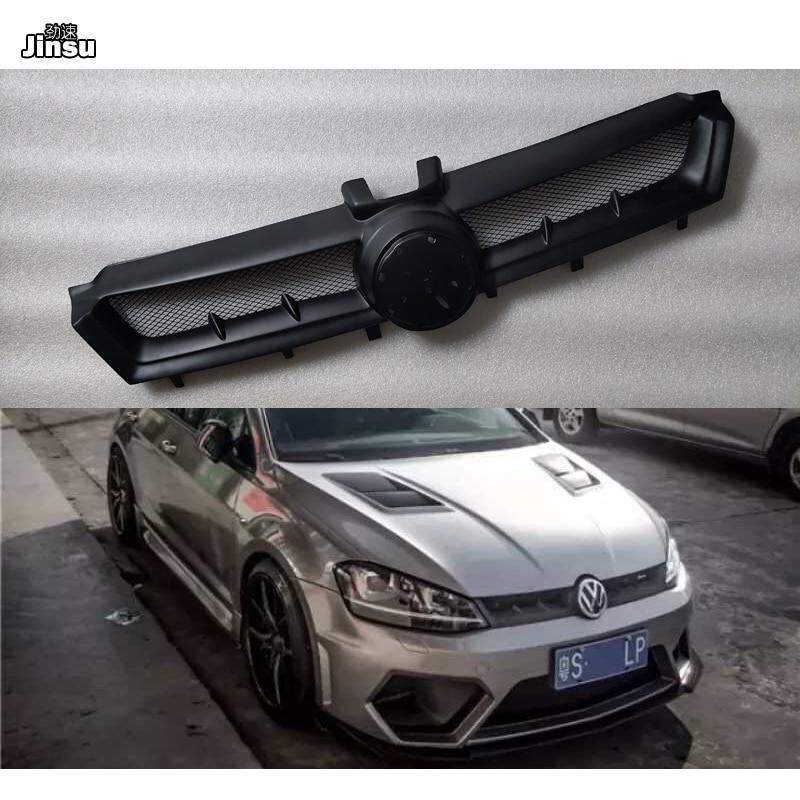 Aspec estilo de fibra de vidrio frente rejilla de admisión de aire para VW Golf 7 R línea GTI MK7 2013 - 2016 un estilo de FRP negro mate primer grill