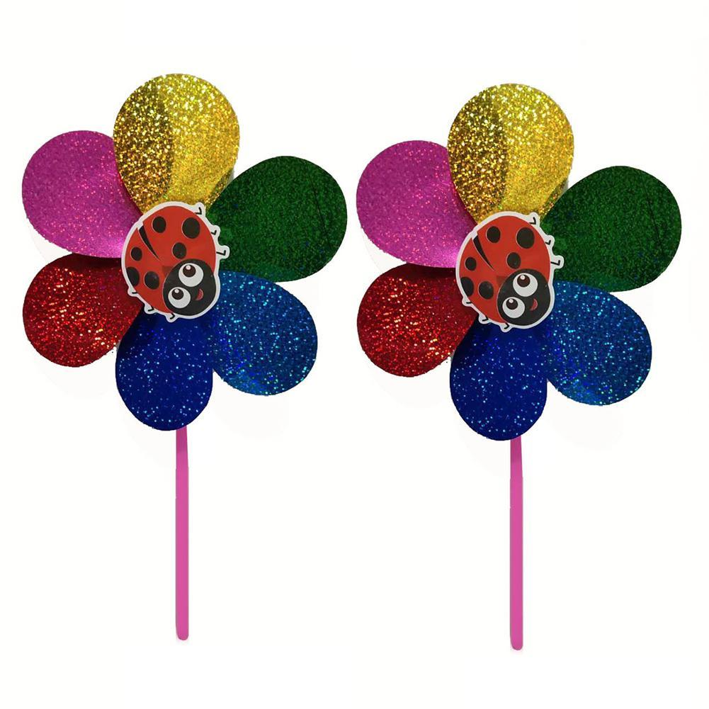 2Pcs 2 in 1 Colorful Sequins Windmill Wind Spinner Home Garden Decor Kids Toy