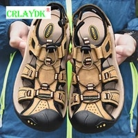 crlaydk summer outdoor anti slip beach sandals closed toe hiking walking shoes sport breathable men leather slippers sandale