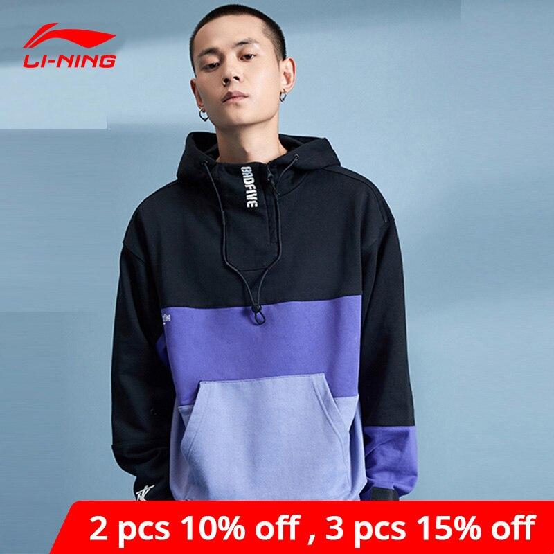 Li-Ning hombres BAD FIVE baloncesto serie suéter con capucha 100% algodón suelto forro li ning Sport suéteres AWDP353 MWW1614