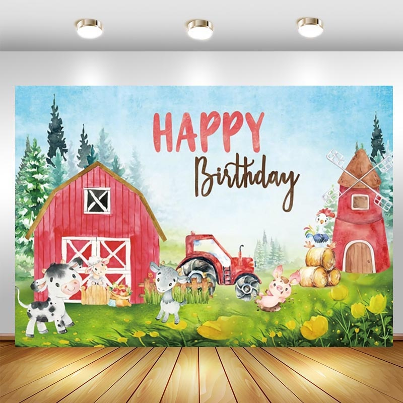 Farm Photographic Backdrops Baby Shower Kids Birthday Party Red Barn Animal Cartoon Photo Background Photo Studio enlarge