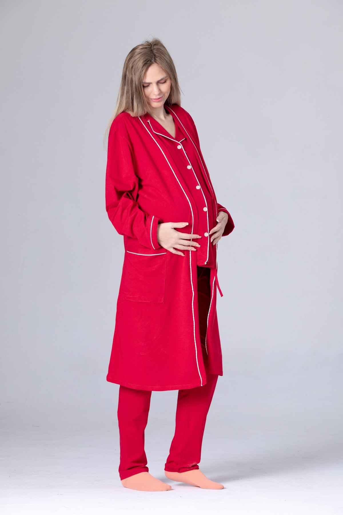 Luxury Puerperal Sleepwear Set 100 Cotton Dark Red enlarge
