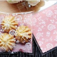 100 pièces Rose bonbons et Biscuits sacs en plastique auto-adhésif pour bricolage Biscuits Snack cuisson paquet décor enfants cadeau fournitures