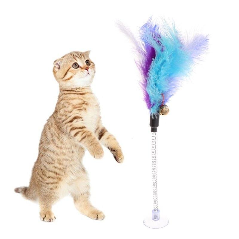 Juguetes para gatos, palo de plumas, ventosa de primavera, divertida taza interactiva para mascotas, varita con campana