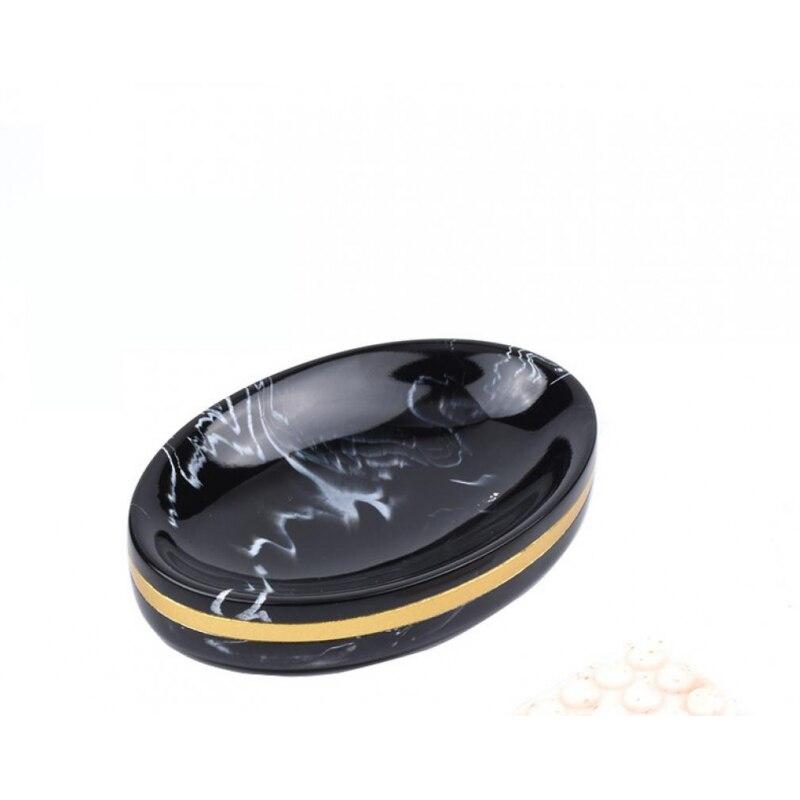 5 Pcs Black Gold Marble Ceramic Bathroom Accessory Set Washing Bottle Mouthwash Cup Soap Toothbrush Holder Household Articles enlarge