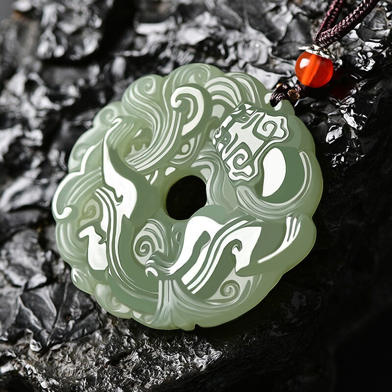 Natural A hetian jade carving green jade dragon jade pendant unique design jadeite jade necklace men jewelry