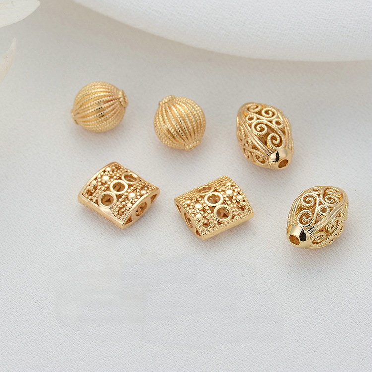 6PCS 14K Gold Color Plated Brass Spacer Beads Bracelet Beads High Quality Diy Jewelry Accessories