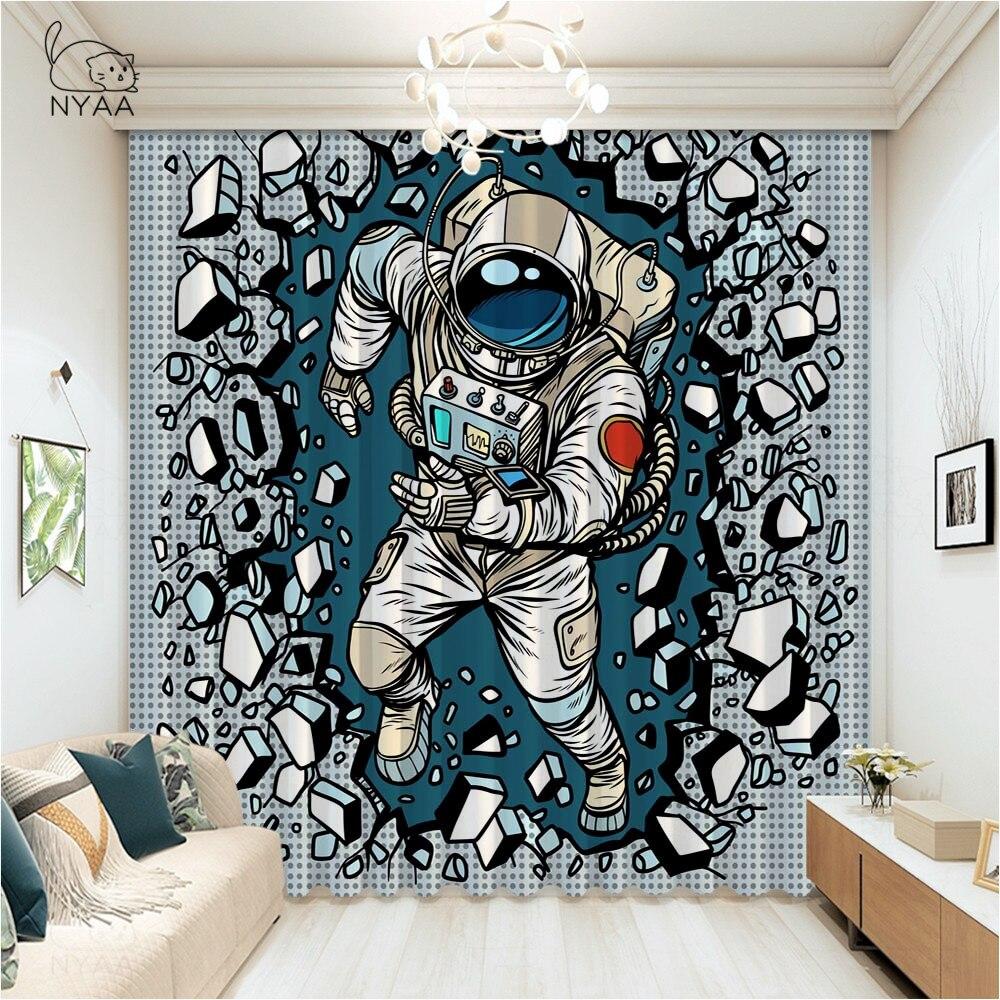 ستائر كرتونية لغرفة نوم الأولاد ، قماش رائد فضاء الكون ، سماء مرصعة بالنجوم ، نافذة غرفة المعيشة ، تظليل دقيق