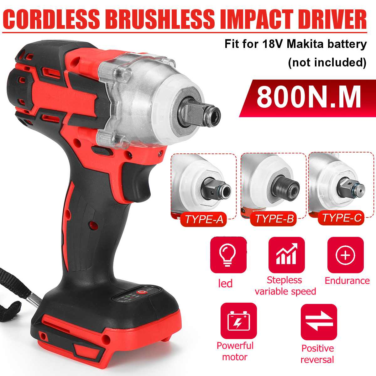 18V 880N.m Electric Wrench Speed Cordless Impact Wrench Power Tool Screwdriver Rechargable Drill Driver LED For Makita Battery