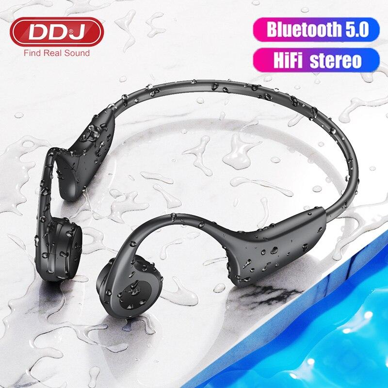DDJ لسماعات سامسونج اللاسلكية بلوتوث التوصيل العظام سماعات MP3 Palyer بنيت في 8G ذاكرة سماعة مع ميكروفون
