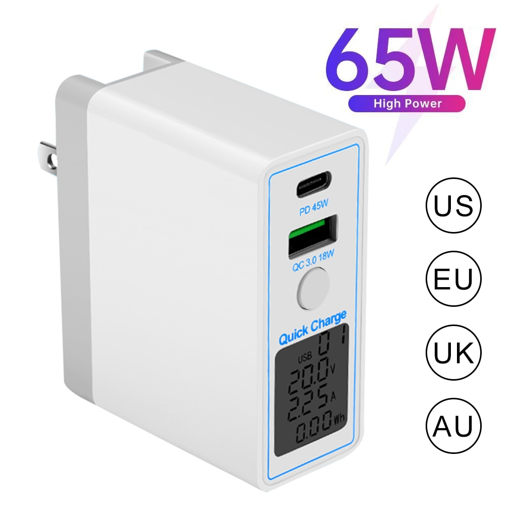 65W USB Charger PD 45W QC3.0 Fast Charging Type C Mobile Phone Travel Power Adapter For iPhone 12 11 Pro Huawei Xiaomi Samsung