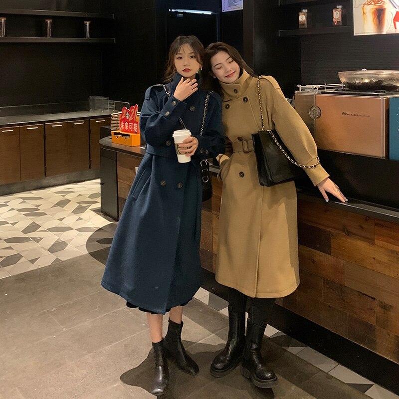 Women's Coat Great Artist Autumn And Winter 2021 Navy Blue Woolen Coat Stand Collar Woolen Middle Le