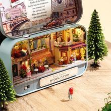Creative bricolage 3D en bois Miniature scène maison de poupée modèle à la main Cottage jouet à la main boîte théâtre poupée maison cadeau jouets