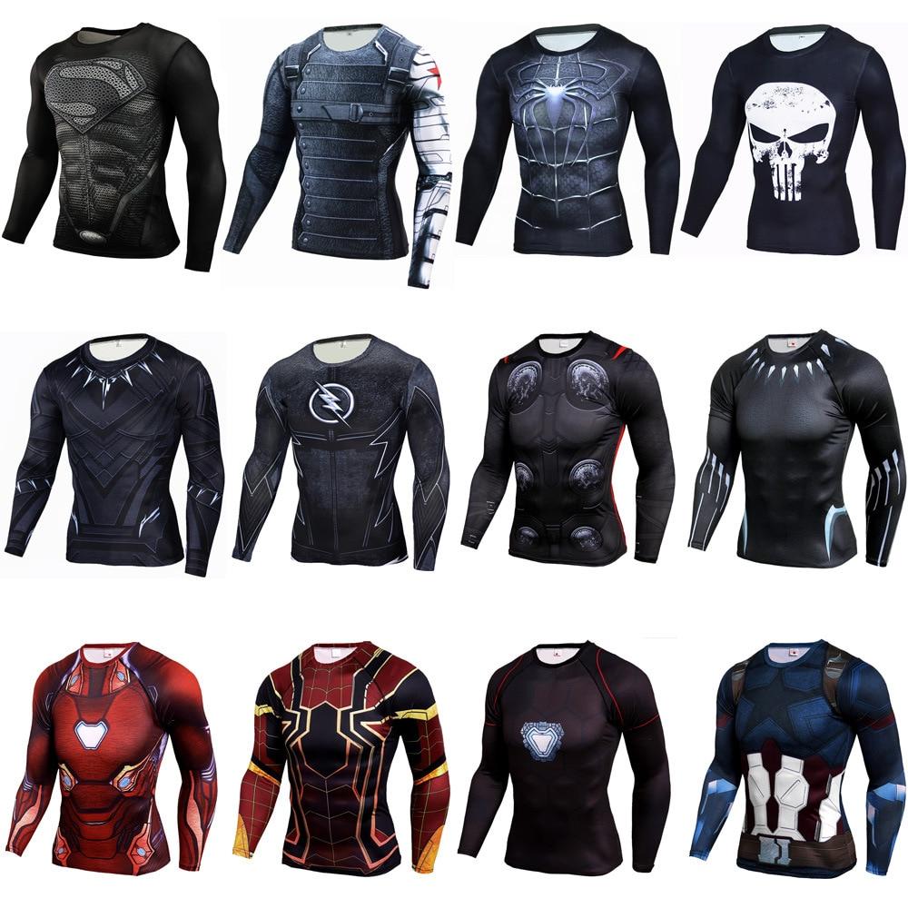 Camisa de compressão mma de fitness muay thai rashguard camisa masculina boxe mma roupas treino bjj 3d superman punisher esporte tees