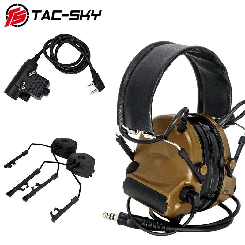 TAC-SKY COMTAC II tactical noise reduction shooting headset + military adapter PTT U94 PTT + ARC track Comtac bracket CB
