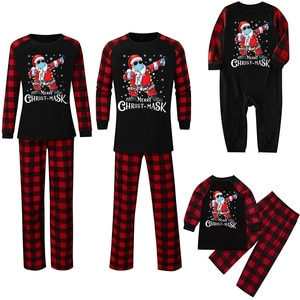 Newest Merry Christmas Toddler Baby Letter Printed Romper Jumpsuit  Family Clothes Baby Kid Dad Mom Matching Family Outfits 2021