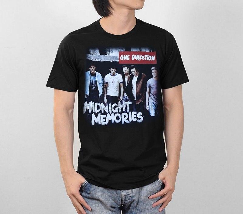 ONE DIRECTION 1D MIDNIGHT memorias gráfico hombres 100% algodón negro camiseta S-2XL precio barato 100% algodón camisetas