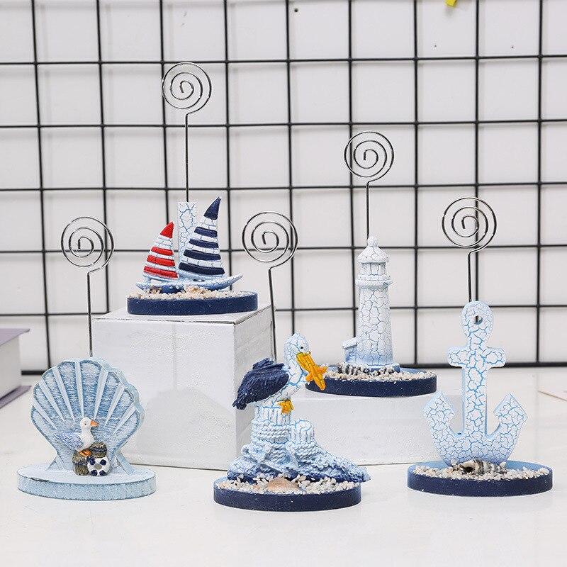 Clip de foto de resina mediterránea, soporte de foto con número de mesa, decoración de escritorio de oficina para tarjetas, recuerdos de boda