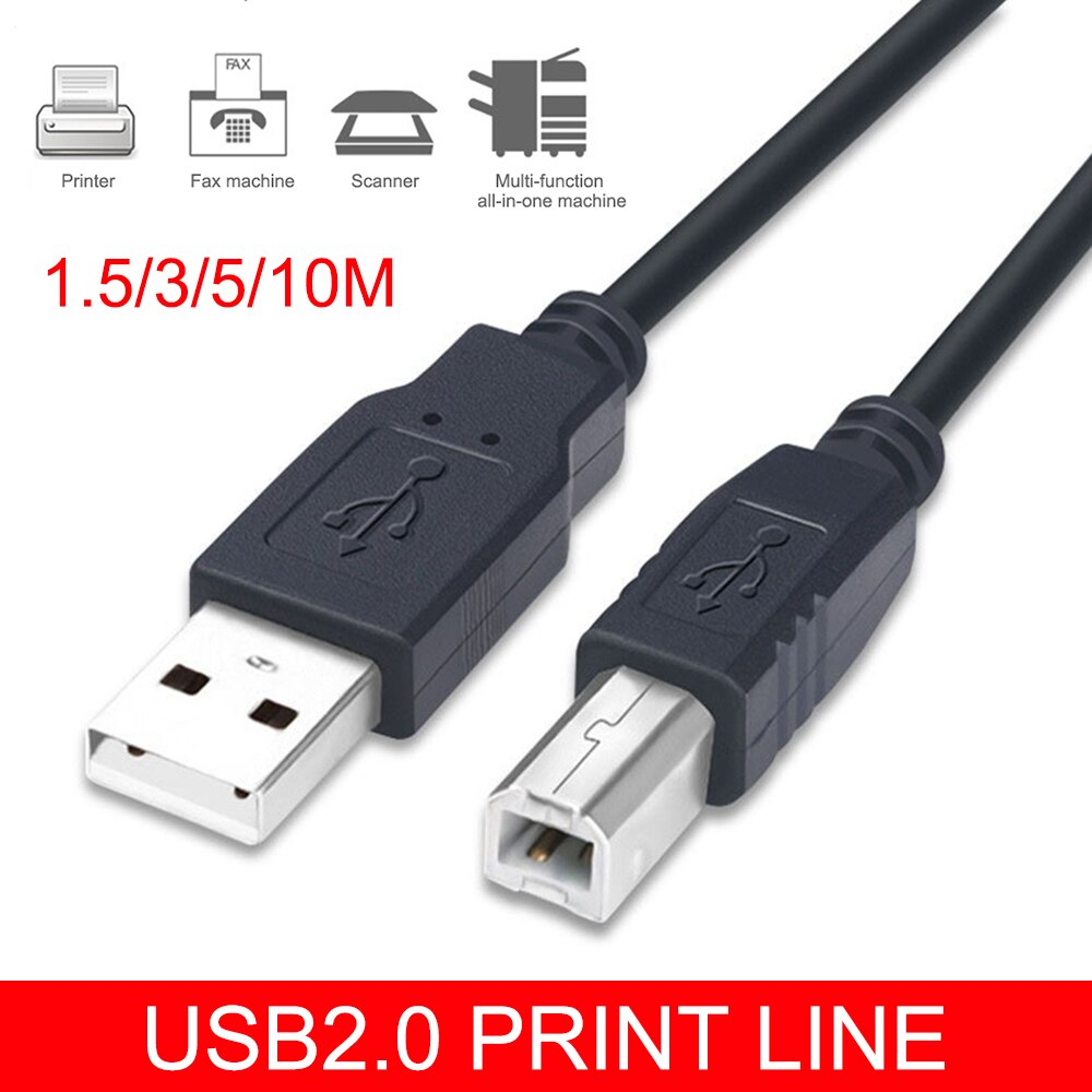 USB 2.0 Printer Cable USB Type A-Male to B-Male Cord for Canon/Epson/HP/ZJiang Label Printer DAC USB Printer