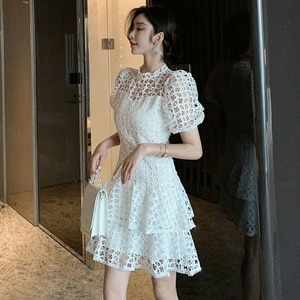 2021 Spring OL New Style Women White Hollow Out Casual Dresses Fashion Lace Ruffled Skirt Evening Cocktail Ball Gown