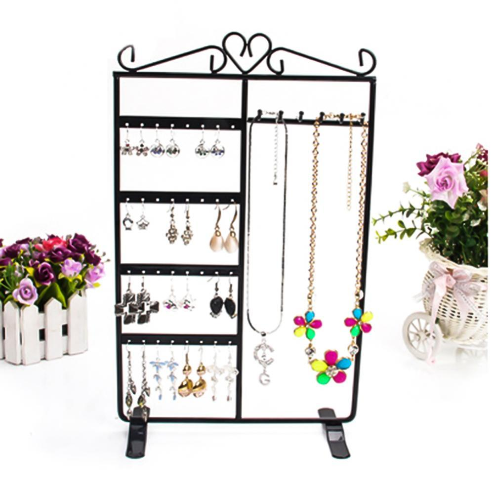 80% Hot Sales 32 Holes 6 Hooks Necklace Hanging Stand Holder 4 Tiers Jewelry Show Rack Organizer