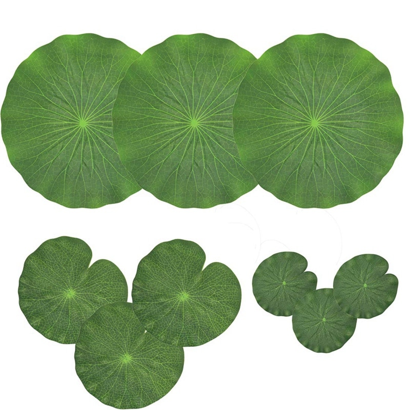 Pack Of 9 Artificial Floating Foam Lotus Leaves Water Lily Pads Ornaments Green | Perfect for Patio Koi Fish Pond Pool Aquarium