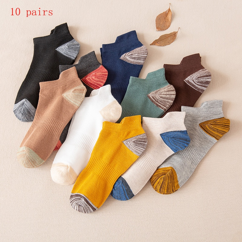 10 Pairs Boat Socks Men's Double String Waist Heel Ear Protection Socks Men's Color Matching Sports Sweat Absorbing Cotton Sox