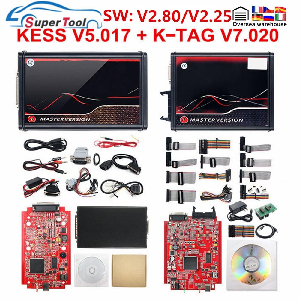 أفضل Kess 2.80 V5.017 الاتحاد الأوروبي الأحمر Kess 5.017 V2.47 OBD2 سيارة شاحنة ECU مبرمج K-TAG كامل مجموعات مدير ضبط كيت أداة تشخيص