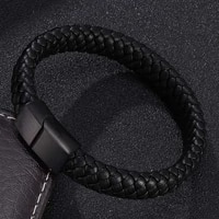 punk jewelry black brown braided leather bracelet men handmade bracelet stainless steel magnet clasp leather wristband gift p740