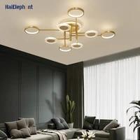 Moderne fer peint LED lustre lumieres pour salon salle a manger chambre maison deco lampes eclairage interieur Dimmable avec telecommande