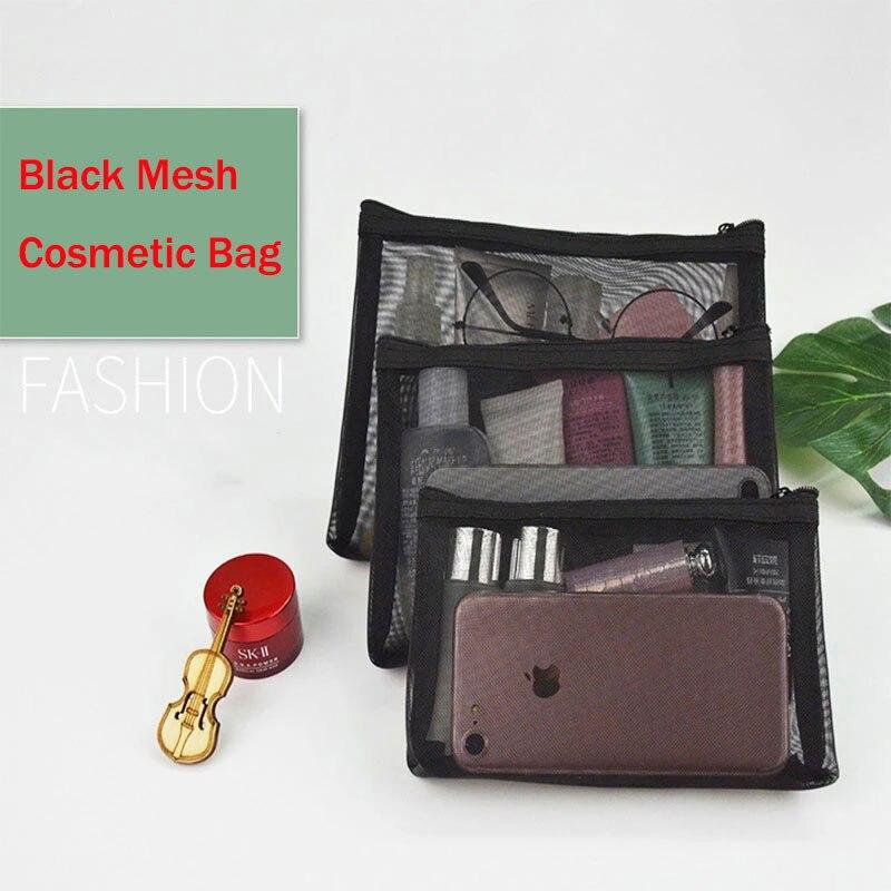 Portable Cosmetic Bag Black Transparent Mesh Storage Pouch Travel Organizer Toiletry Bag Zipper Cosmetic Organizer Makeup Bag