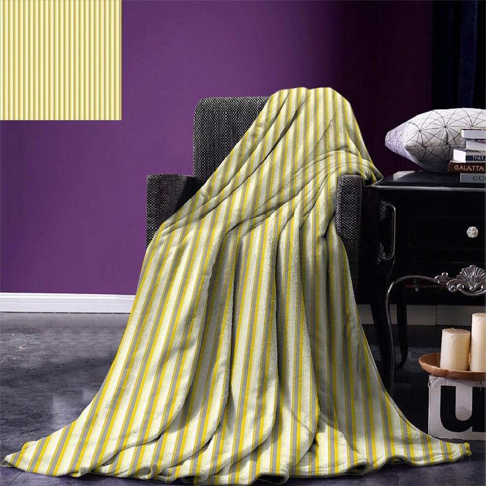 بطانية رمي أصفر نمط كلاسيكي مع خطوط عمودية في نمط الرجعية في ألوان الباستيل بطانية للسرير الأريكة أصفر رمادي