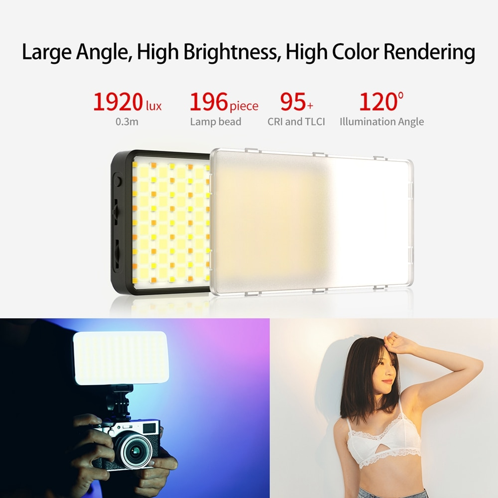 VIJIM VL196 2500K-9000K RGB Led Video Light Dimmable Fill Light With Diffuser 3000mAh Battery Camera Photography Studio Light