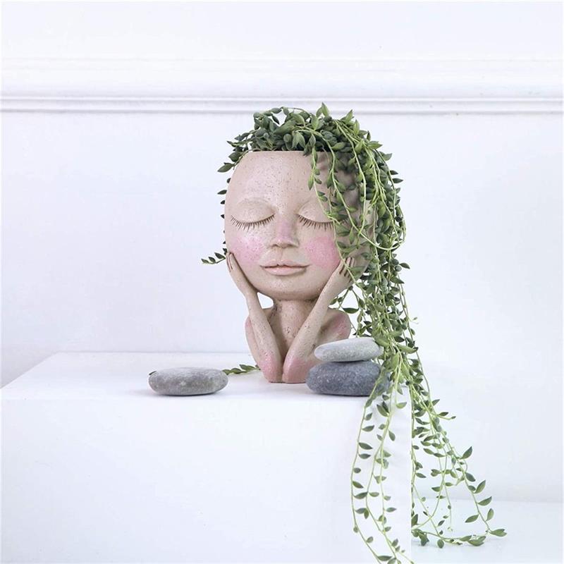 Креативный кашпо из смолы, Забавный цветочный горшок, комнатный и уличный горшок для суккулентов, кашпо для дома и сада, Декоративная скульптура декоративный