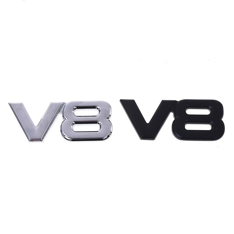 Купить с кэшбэком Auto Metal Alloy 3D V8 Logo Badge Decal Chrom Side Wing Emblem Sticker Car