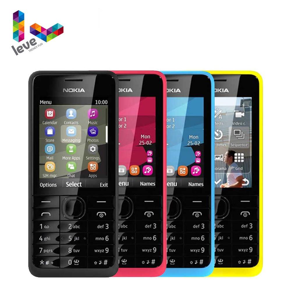 هاتف نوكيا 301 مفتوح باب واحد ومزدوج الشريحة WCDMA 3MP 2.4 هاتف خلوي مجدد مع لوحة مفاتيح عبرية
