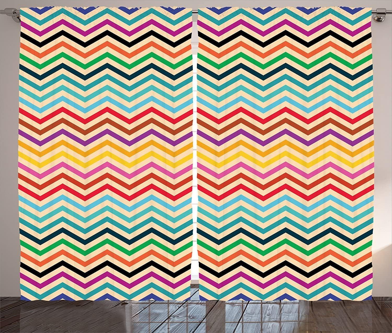Cortinas Chevron, patrón geométrico Zigzag en colores Retro, Diseño a rayas tradicional de México, sala de estar, dormitorio, cortinas de ventana
