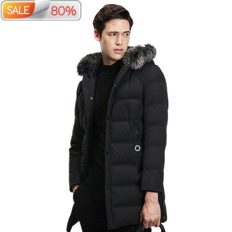 Chaqueta de plumón de pato 90%, abrigo largo de piel de zorro Real con cuello de pico, chaqueta de invierno, ropa para hombre, Parkas 2020 gruesas, ropa para hombre ND799