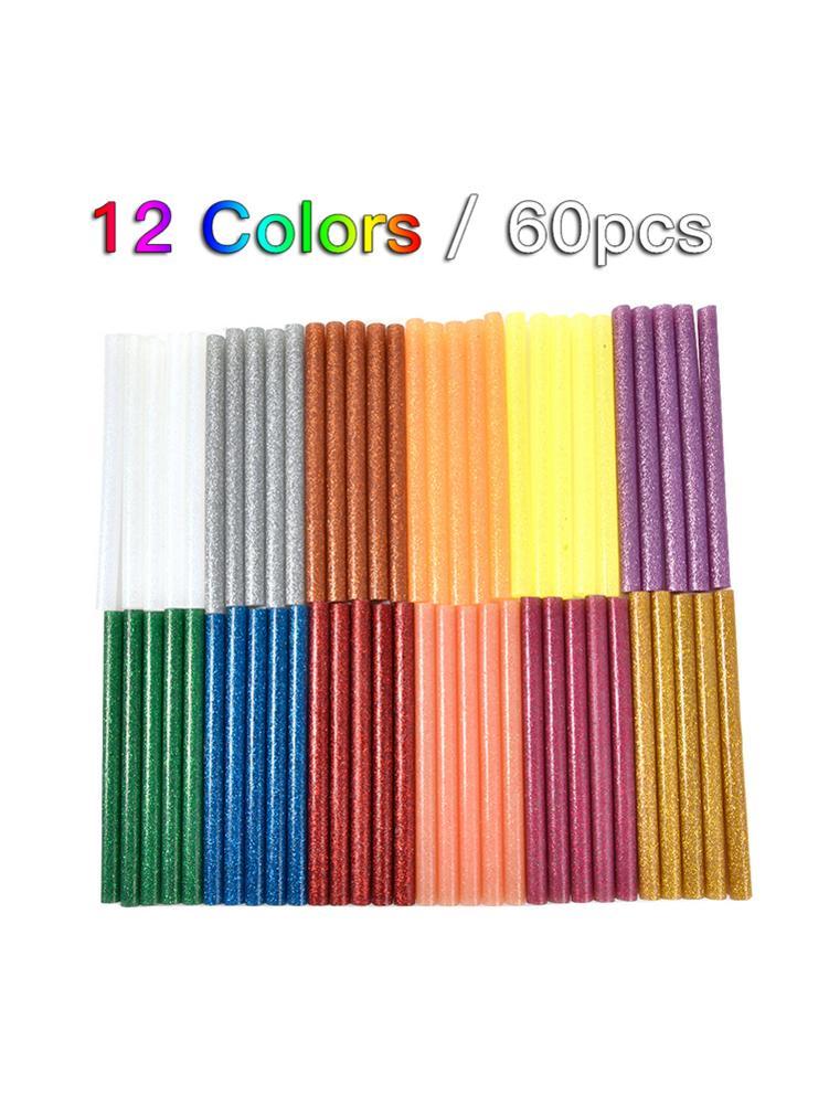 60PCS 12 Colors Hot Melt Glue Sticks 7mm Adhesive Assorted Glitter Glue Sticks Professional For Electric Glue Gun Craft Repair